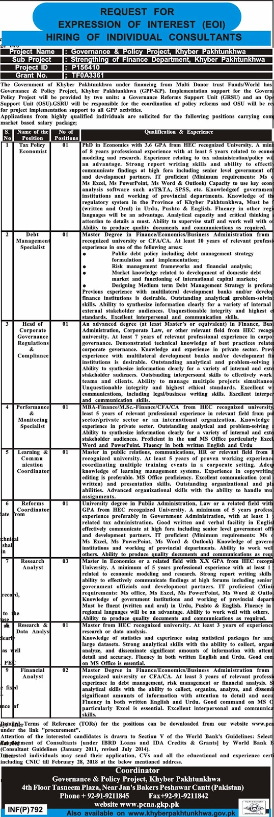 Jobs In Governance And Policy Project KPK  Feb 2018