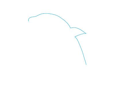 アイコン 「イルカ」 (作: 塚原 美樹) ~ 背中側の輪郭を描く