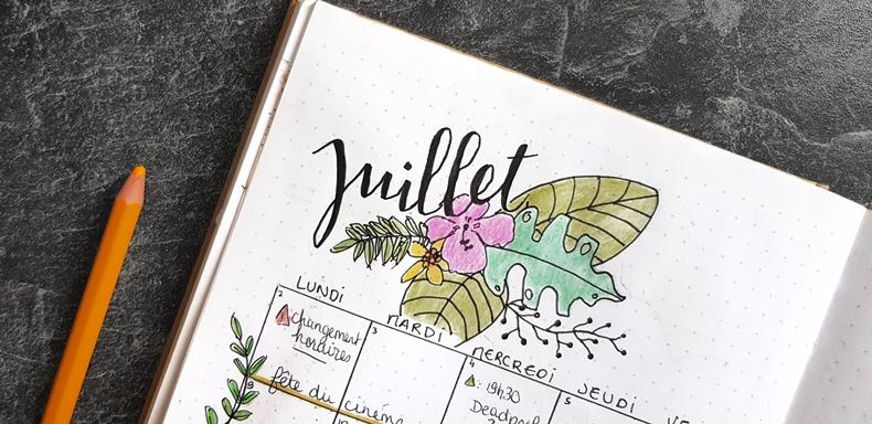 Bullet journal juillet 2018