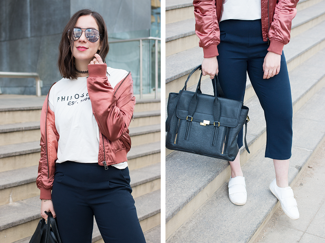Styling a satin bomber