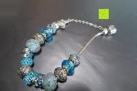 Platz am Band: A TE® Armband Charms Damen Kristall Blau Muranoglas Blume Glasperle Mädchen Geschenk Frauen #JW-B94