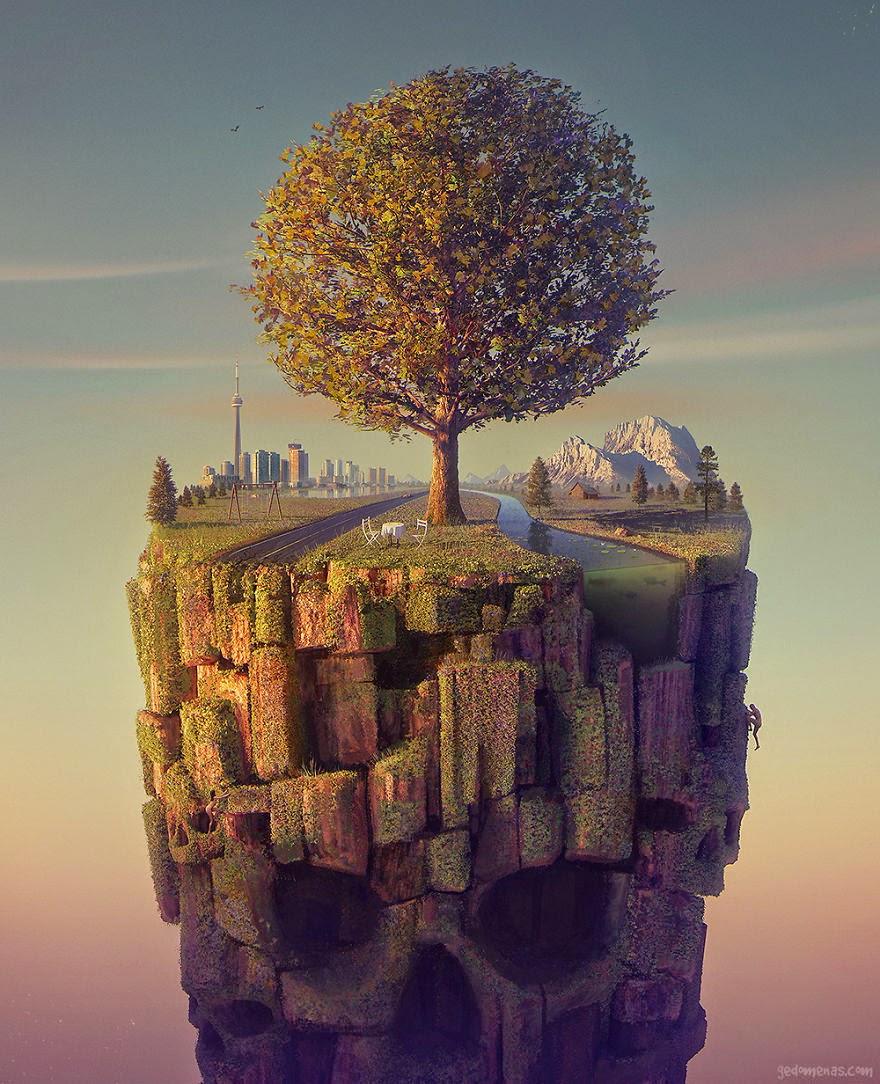 Ilustración con un árbol y calavera