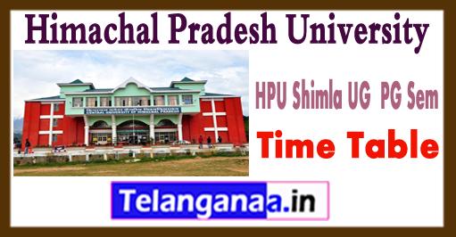 HPU Shimla UG  PG 1st 3rd 5th Sem  Exam Time Table 2018