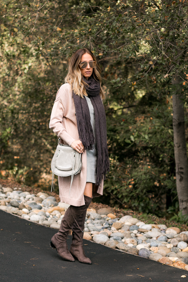 blush and grey dress and cardigan