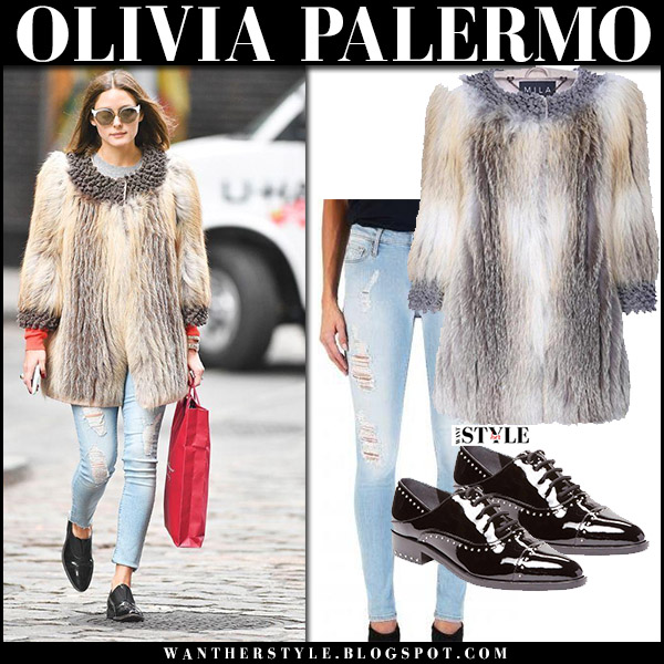 Olivia Palermo in beige fur coat cara mila roxanne, skinny jeans and black patent oxfords sigerson morrison winter luxe celebrity style december