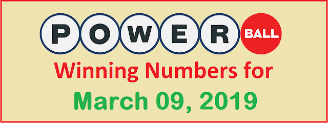 PowerBall Winning Numbers for Saturday, 09 March 2019