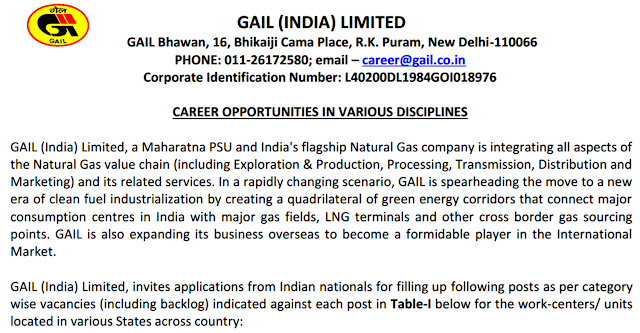 GAIL Recruitment Advertisement