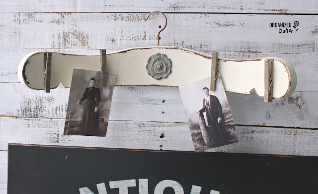 Chair Back Repurposed Photo Display #upcycle #repurpose #photodisplay