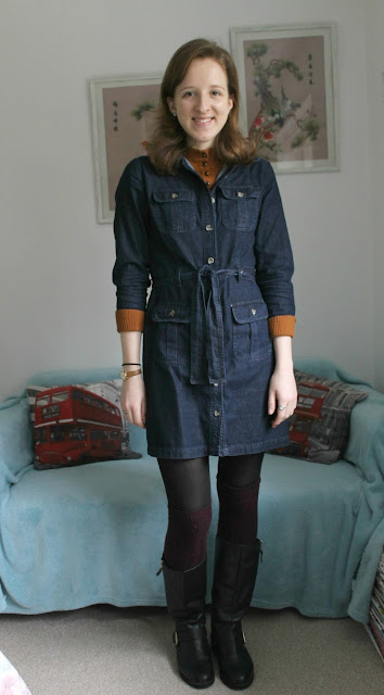 OOTD, outfit, fashion, blogger, denim dress, roll neck, knee high boots, winter, Zara, H&M, Marks & Spencer, Miss Selfridge, New Look,