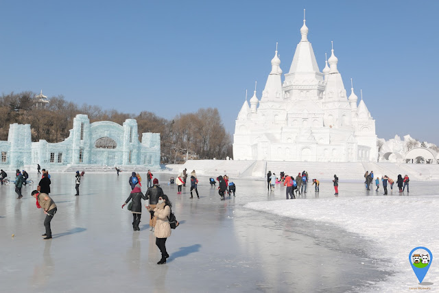 Fairytale Castle in Snow Sculpture at Harbin Snow Sculpture Art Expo in Heilongjiang province, China