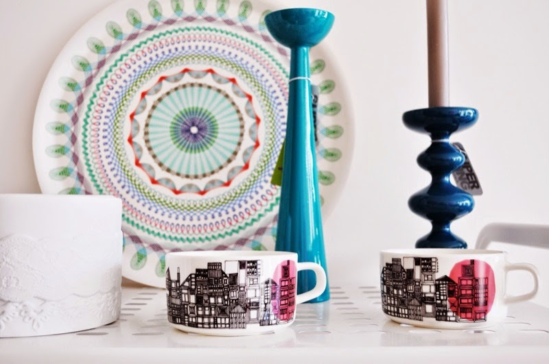 Marimekko mugs and interior candlestick holders