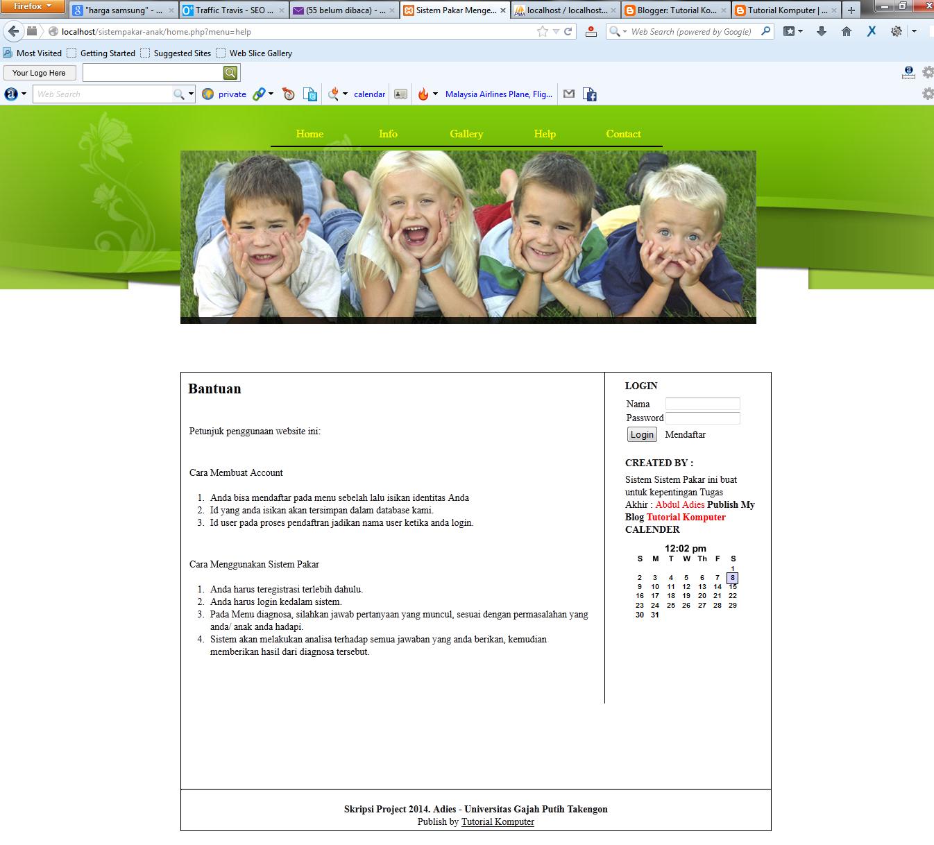 Sistem Pakar Anak Berbasis Web Dengan Php dan MySQL