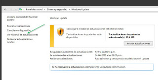 """Vamos a Sistema y seguridad > Windows update > """"Ver historial de actualizaciones"""""""