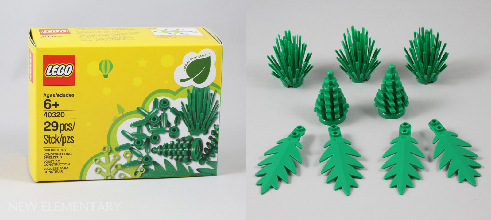 Lego 20 Pieces 1x1 Green Brick With 3 Bamboo Leaves 30176 Jungle//Star Wars