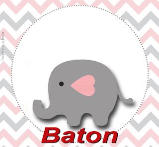 Etiquetas de Elefante Bebé en Rosado y Gris para imprimir gratis.
