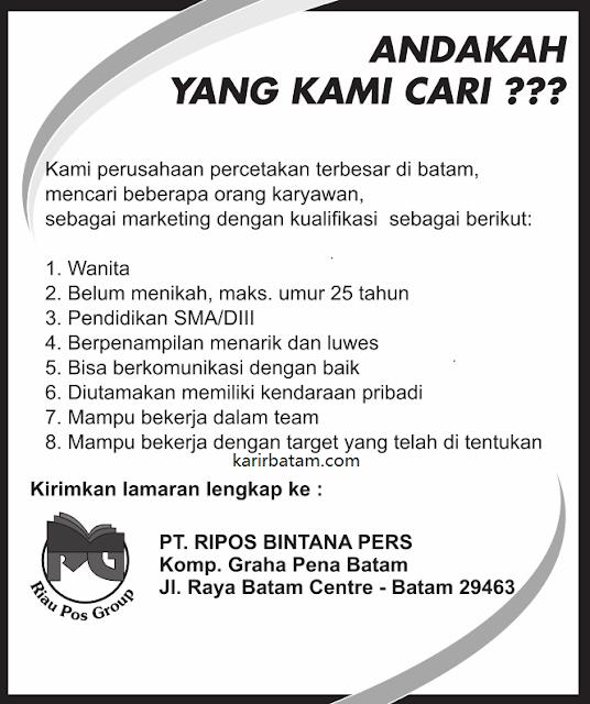 Lowongan Kerja PT. Ripos Bintana Pers