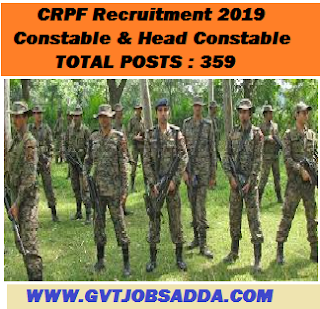 CRPF Recruitment 2019 Constable & Head Constable Posts