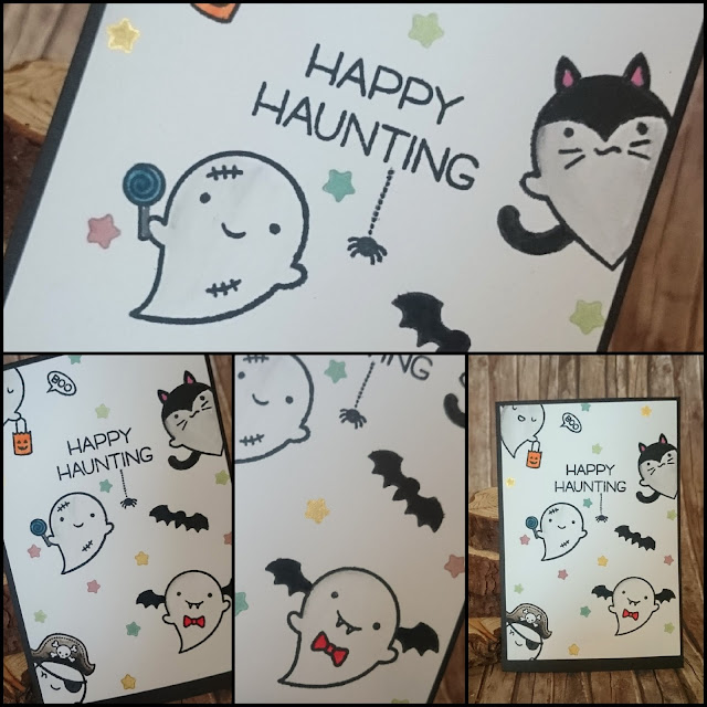 [DIY] Happy Haunting Little Ghosts Say Hi Happy Halloween Greeting Card