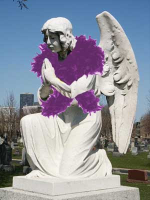 Angel statue with a purple feather boa