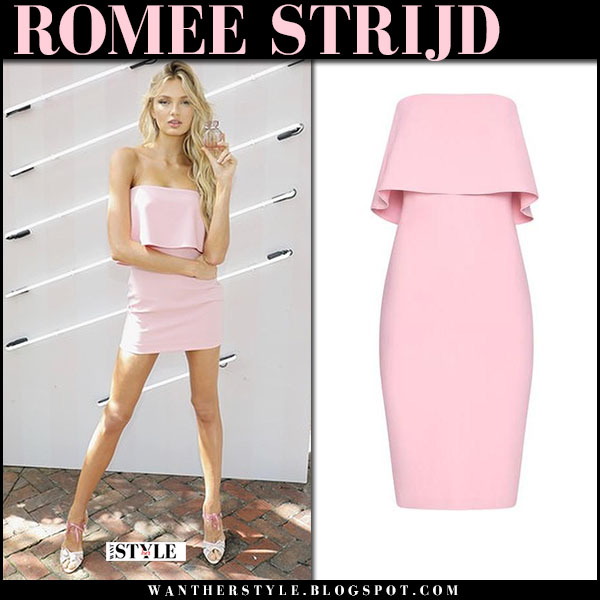 Romee Strijd in pink strapless mini dress likely and sandals fashion style february 21