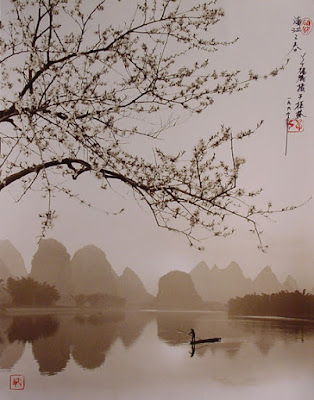 Fotografía de Don Hong Oai: cerezos y lago en China
