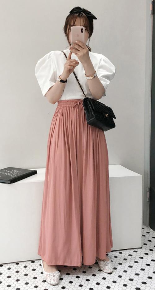 Solid-Tone Drawstring Waist Pleated Maxi Skirt