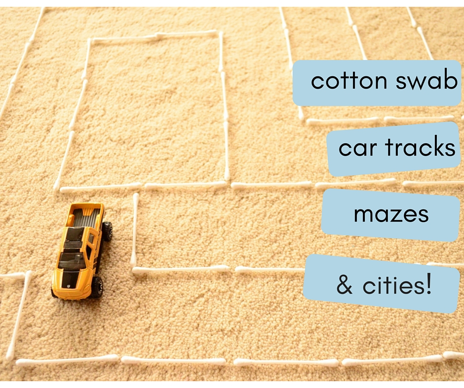 The Practical Mom: Cotton Swab Car Tracks, Mazes & Cities (Practical Mondays #17)