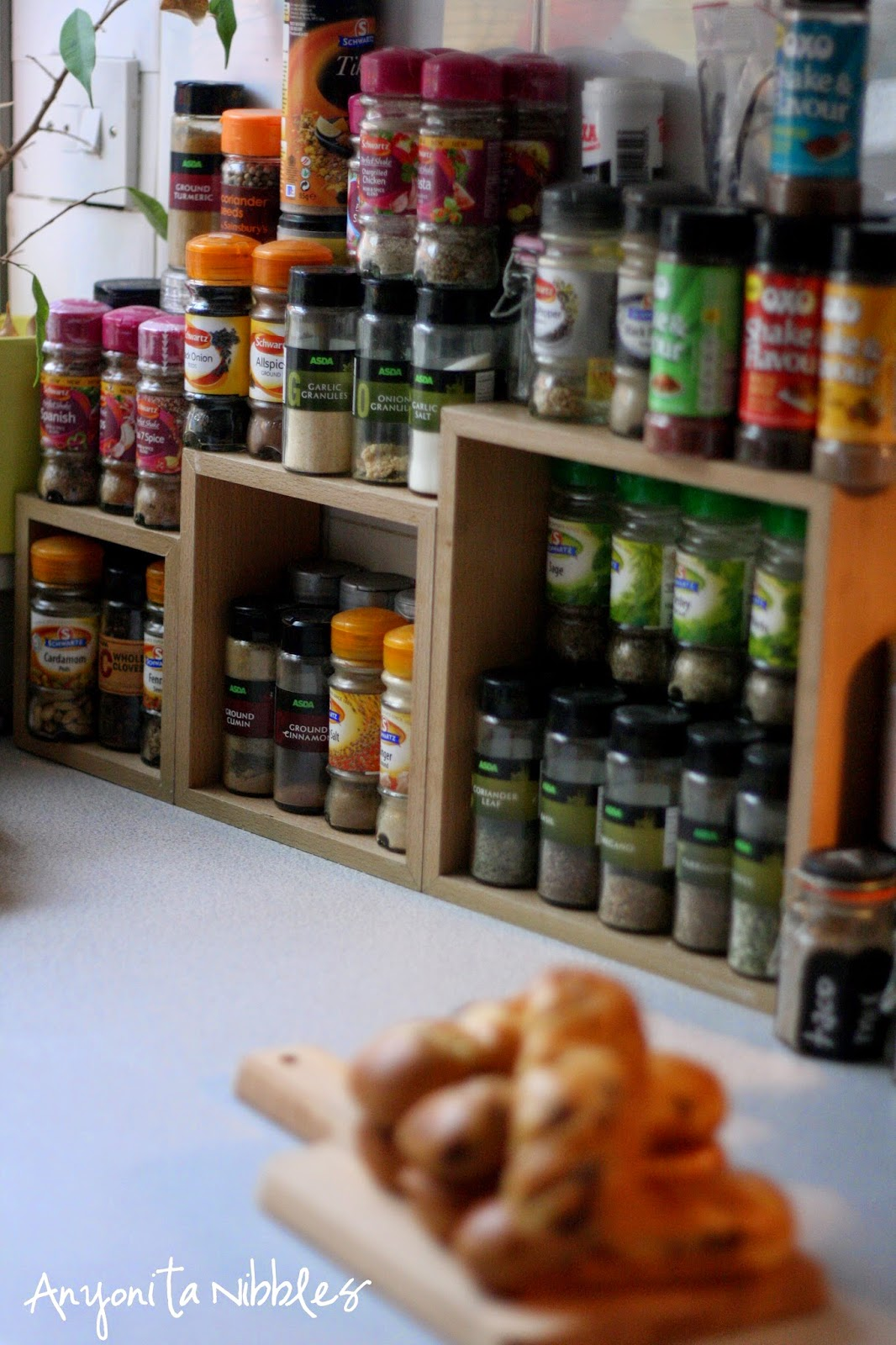 Anyonita Nibbles's herb and spice racks.