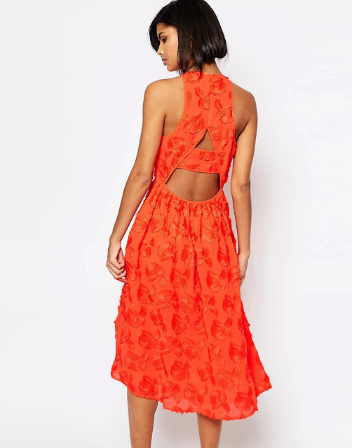 whistles orange cut back dress, whistles appliqué dress,