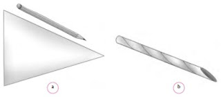 Kertas berbentuk segitiga dan pensil