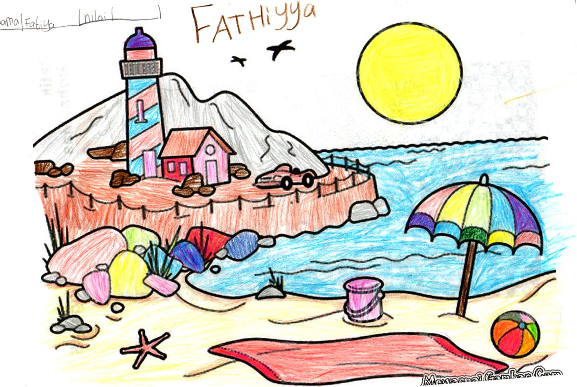 Koleksi Gambar Mewarnai Pantai