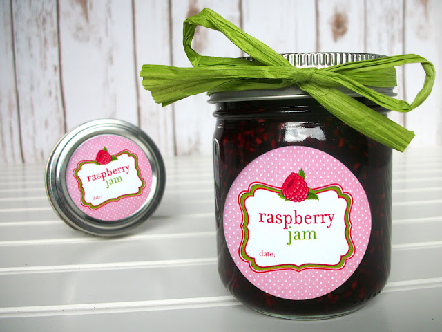 red raspberry jam canning jar labels