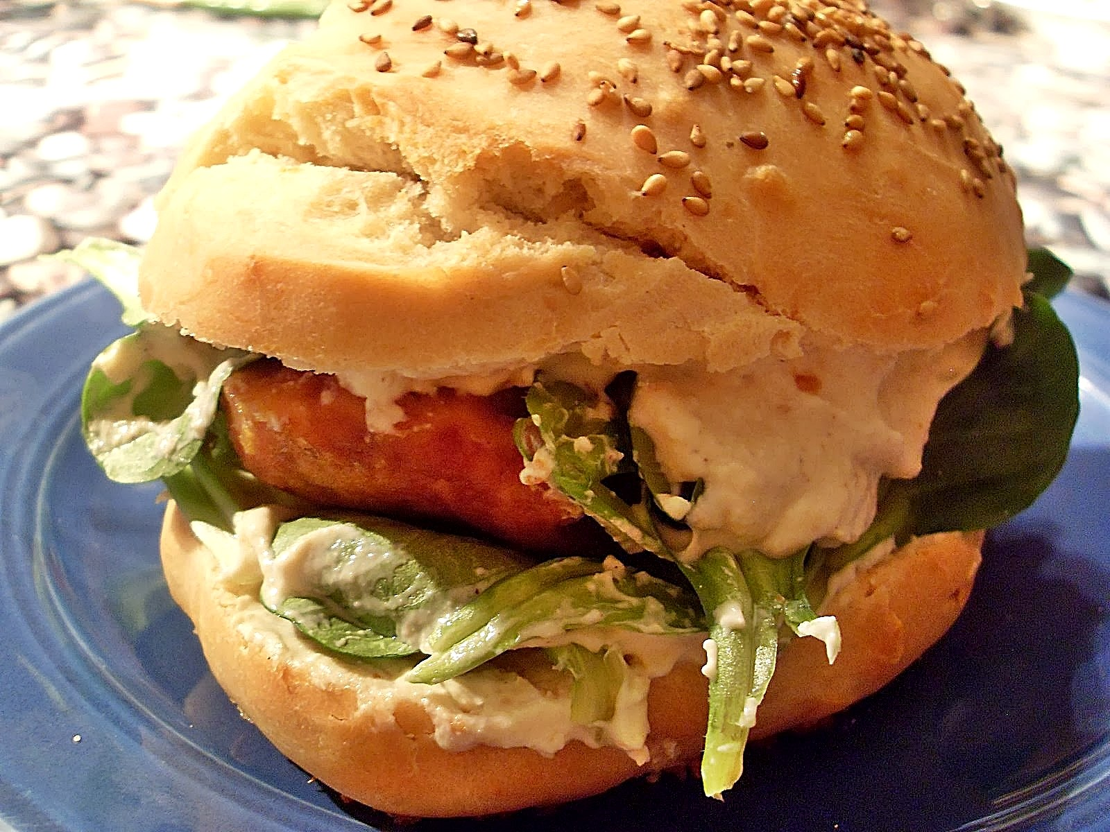 Ma cuisine v g talienne sandwich au filet de poulet pan et sa cr me poivre fromage vegan - Filet de poulet au four ...