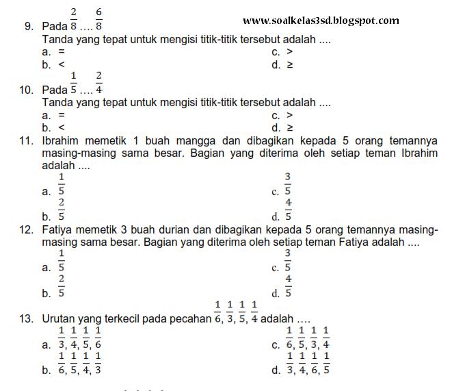 Latihan Soal Matematika Sd Kelas 3 Newhairstylesformen2014 Com