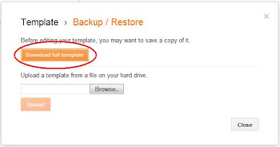Blogger backup and restore template dialog