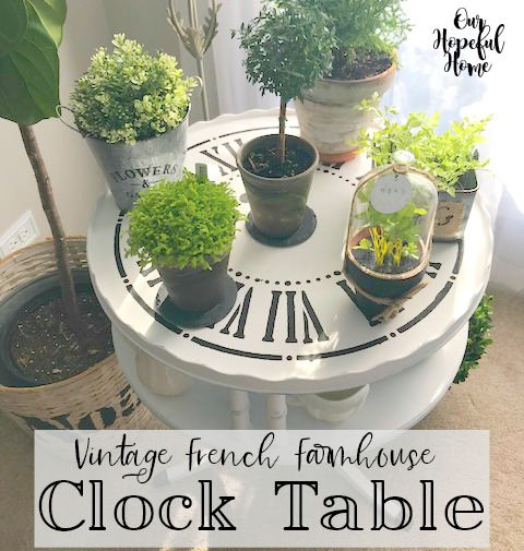 french farmhouse DIY clock table plants cloche