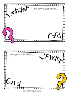 Do you ever wish you could just capture the thoughts of your students?  Now you can find out just what they wonder with this free wonder card!
