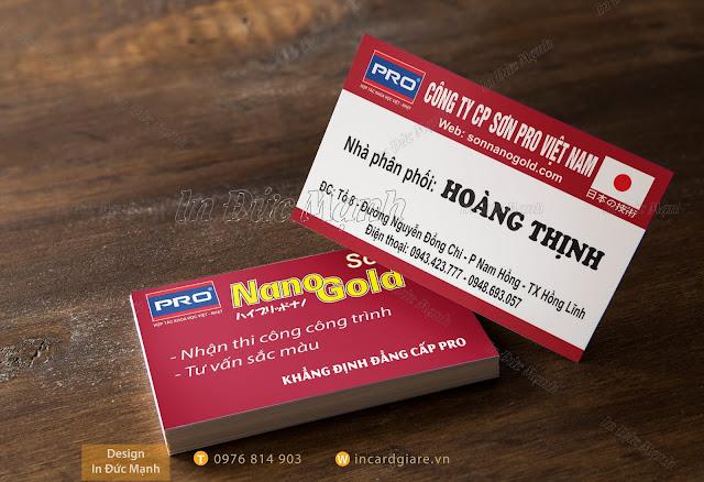 Mẫu card visit Công ty cổ phần sơn Pro Việt Nam