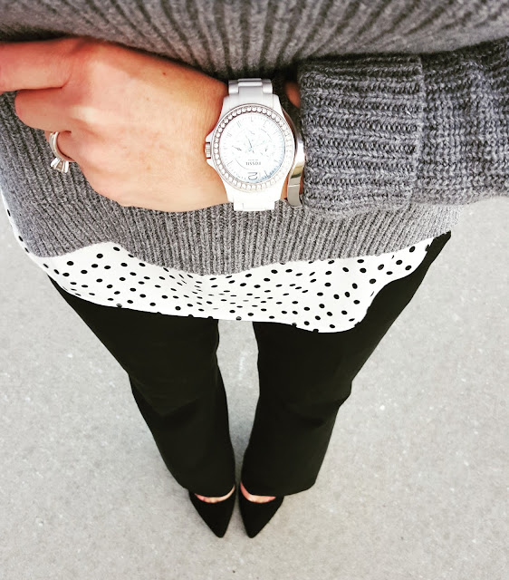 Gap Sweater (similar) // LC Lauren Conrad Blouse (this year's version) // The Limited Pants - 50% off! // Signature by Report Heels (only $27, regular $90!) // Fossil Watch (similar for $18)