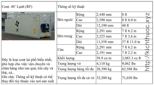 kich thuoc container lanh 40 feet