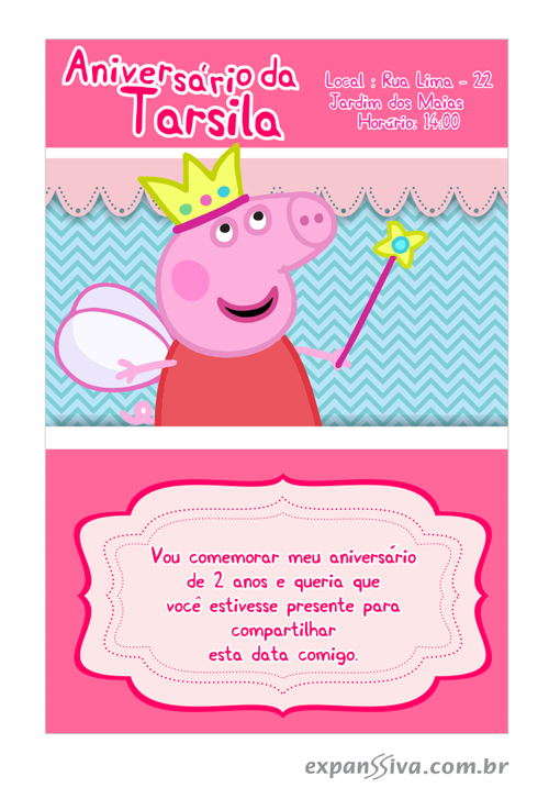 convite de aniversario peppa pig 6 - Convite de Aniversário Infantil Peppa Pig