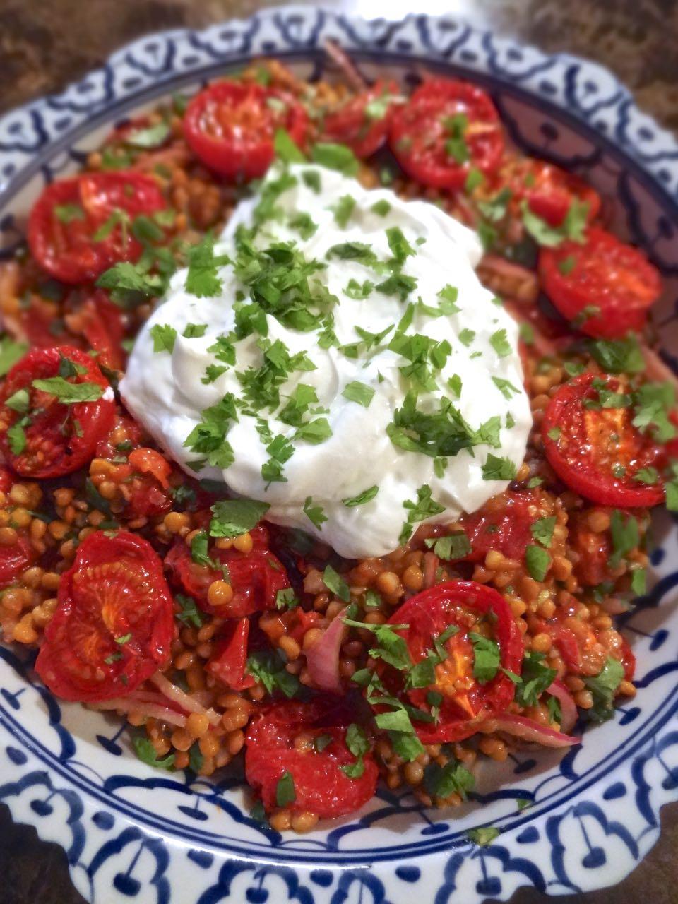 ... : Lentil Salad with Roast Tomato, Red Onion & Cilantro