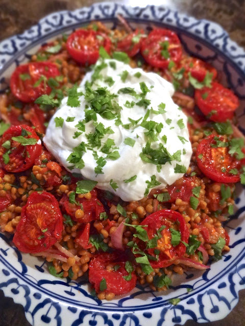 Scrumpdillyicious: Lentil Salad with Roast Tomato, Red ...