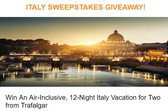 Cruises International has teamed up with Trafalgar and they're offering you a chance to enter once to win a nearly TWO WEEK LONG vacation in beautiful ITALY, worth more than $10,000!