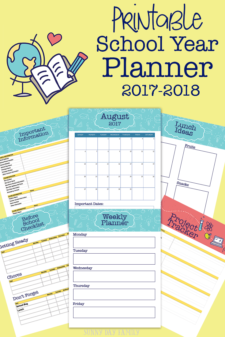 Get ready for the school year with this printable school planner! Everything you need including monthly calendars, school information, lunch planners, assignment trackers and more.