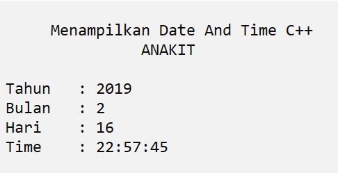 contoh program c++ menampilkan waktu sekarang date and time