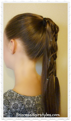 Hair tutorial, criss cross woven ponytail hairstyle for school.