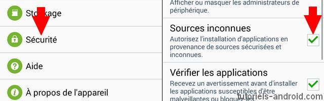 Activer sources inconnues sur Android ICS, JB et KK