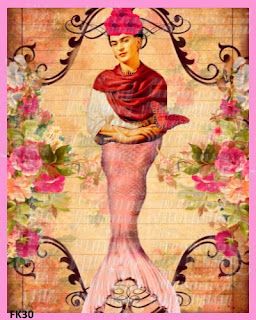 frida kahlo mermaid fabric block