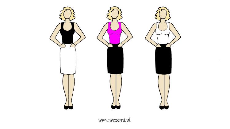 szerokie ramiona wyszczuplone za pomocą dobrze dobranego koloru bluzki